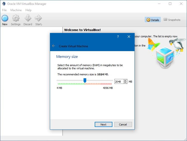 VirtualBox new vm RAM settings
