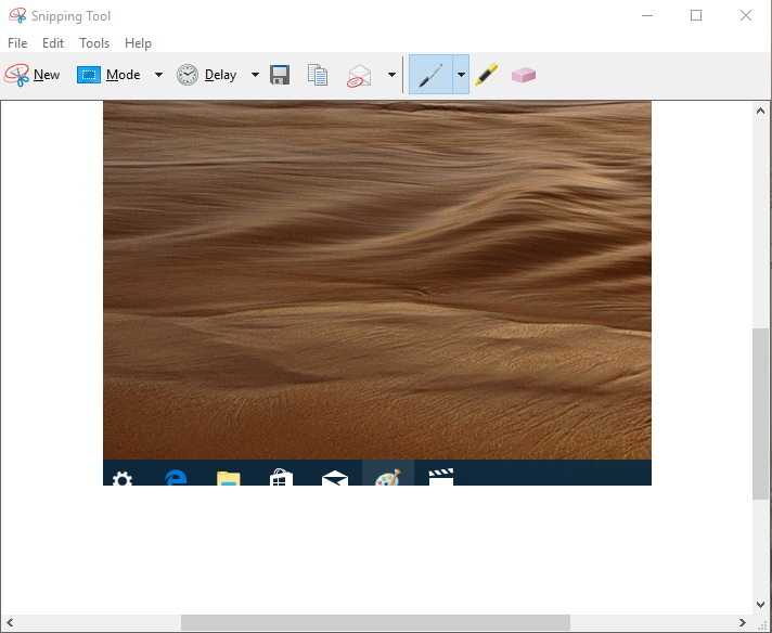 Snipping Tool editing options