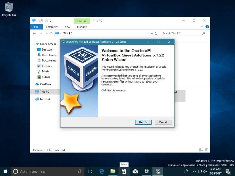 VirtualBox Guest Additions setup