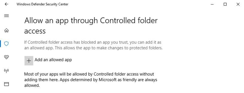 Allow app using Controlled folder access
