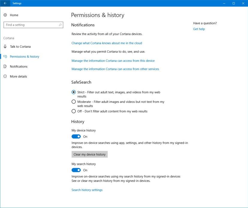 Cortana Permissions & history settings