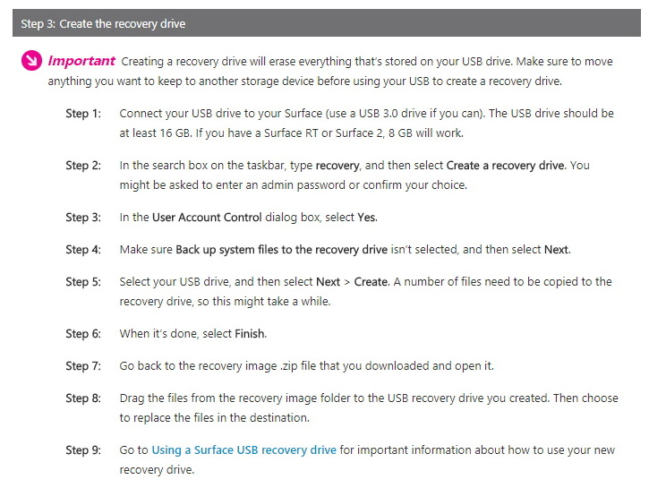 Create Surface recovery drive instructions