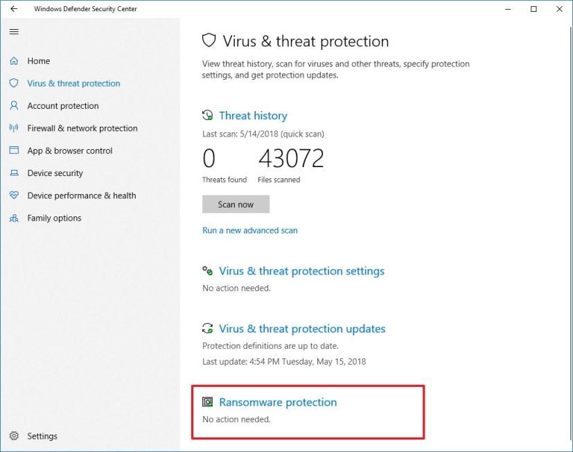 Windows Defender Antivirus settings