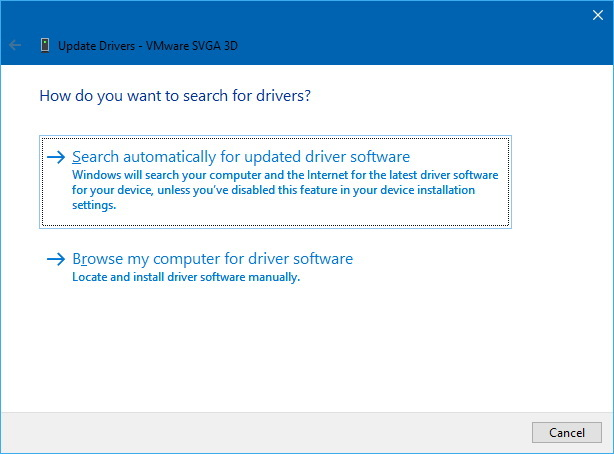 Device Manager automatic driver update
