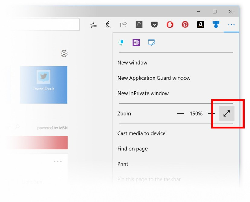 Microsoft Edge fullscreen mode button