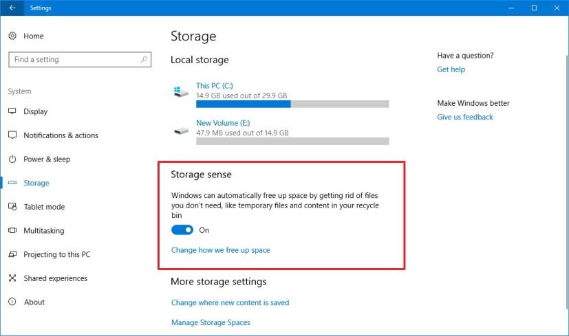Windows 10 Storage settings