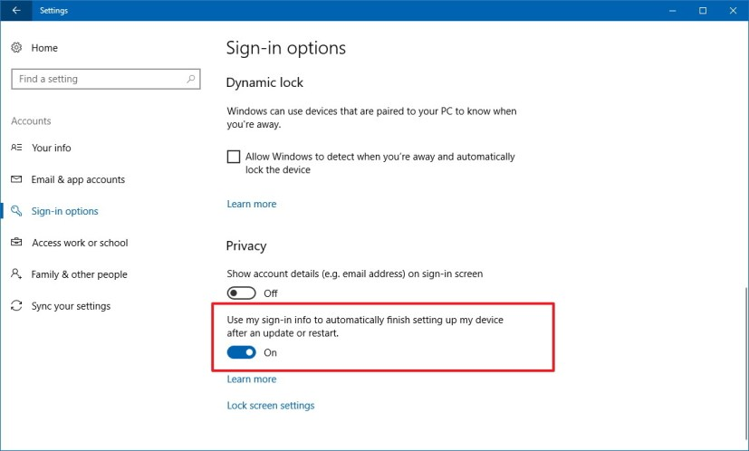 Windows 10 auto sign-in settings