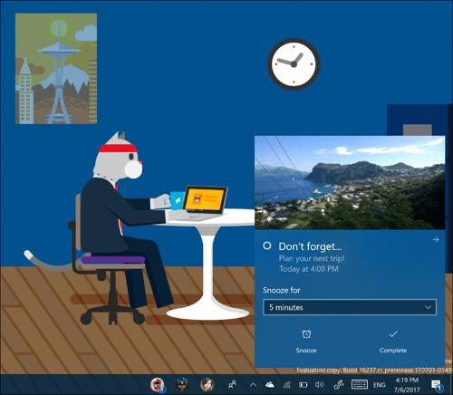 Notifications batter on Windows 10 build 16237