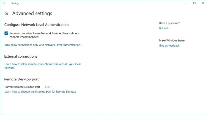 Remote Desktop Advanced settings on Windows 10