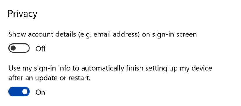 Windows 10 auto sign-in options