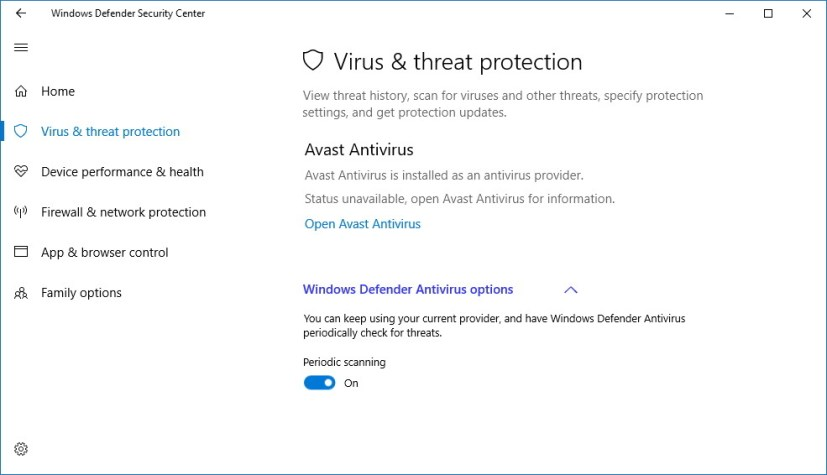 Windows Defender Antivirus periodic scanning settings