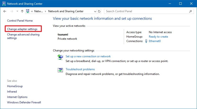 Control Panel's Network and Sharing Center