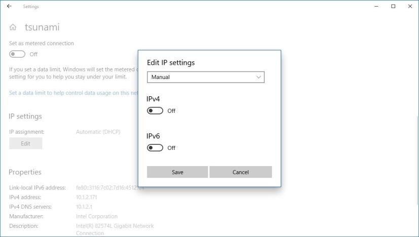 Ethernet edit IP address settings
