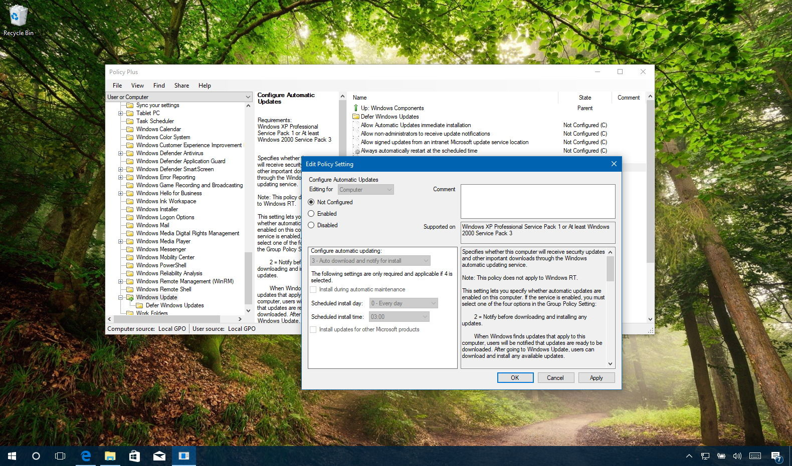 group policy setting on windows 10