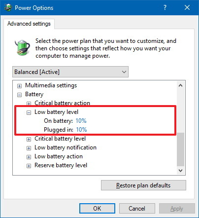 Low battery level notification settings