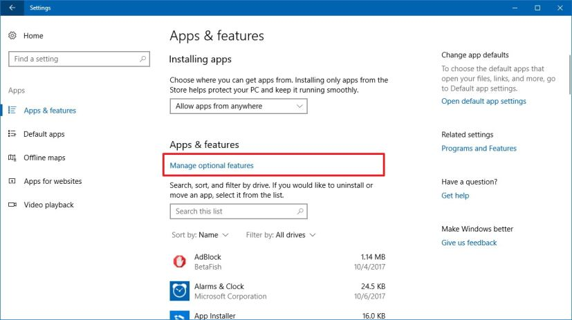 Apps & features settings