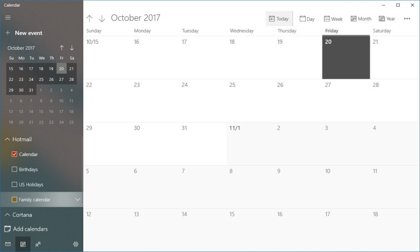 Calendar app with Fluent Design
