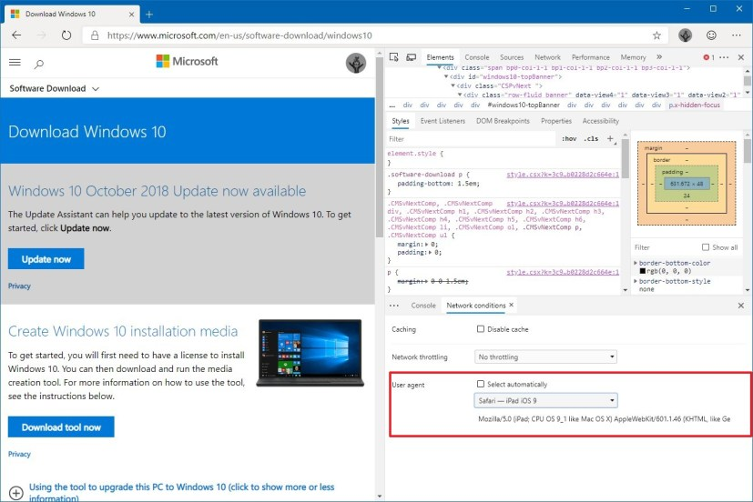 Microsoft Edge Chromium change user agent