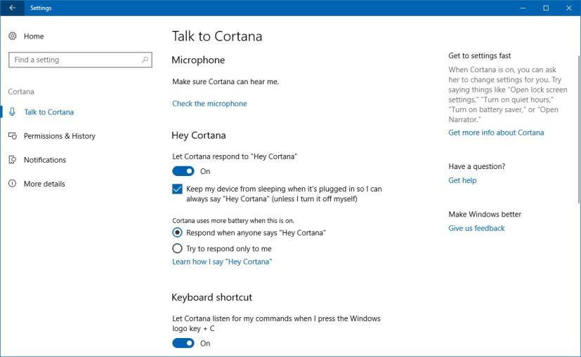 Cortana in the Settings app