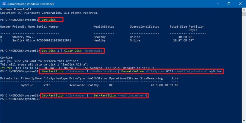 PowerShell format hard drive commands