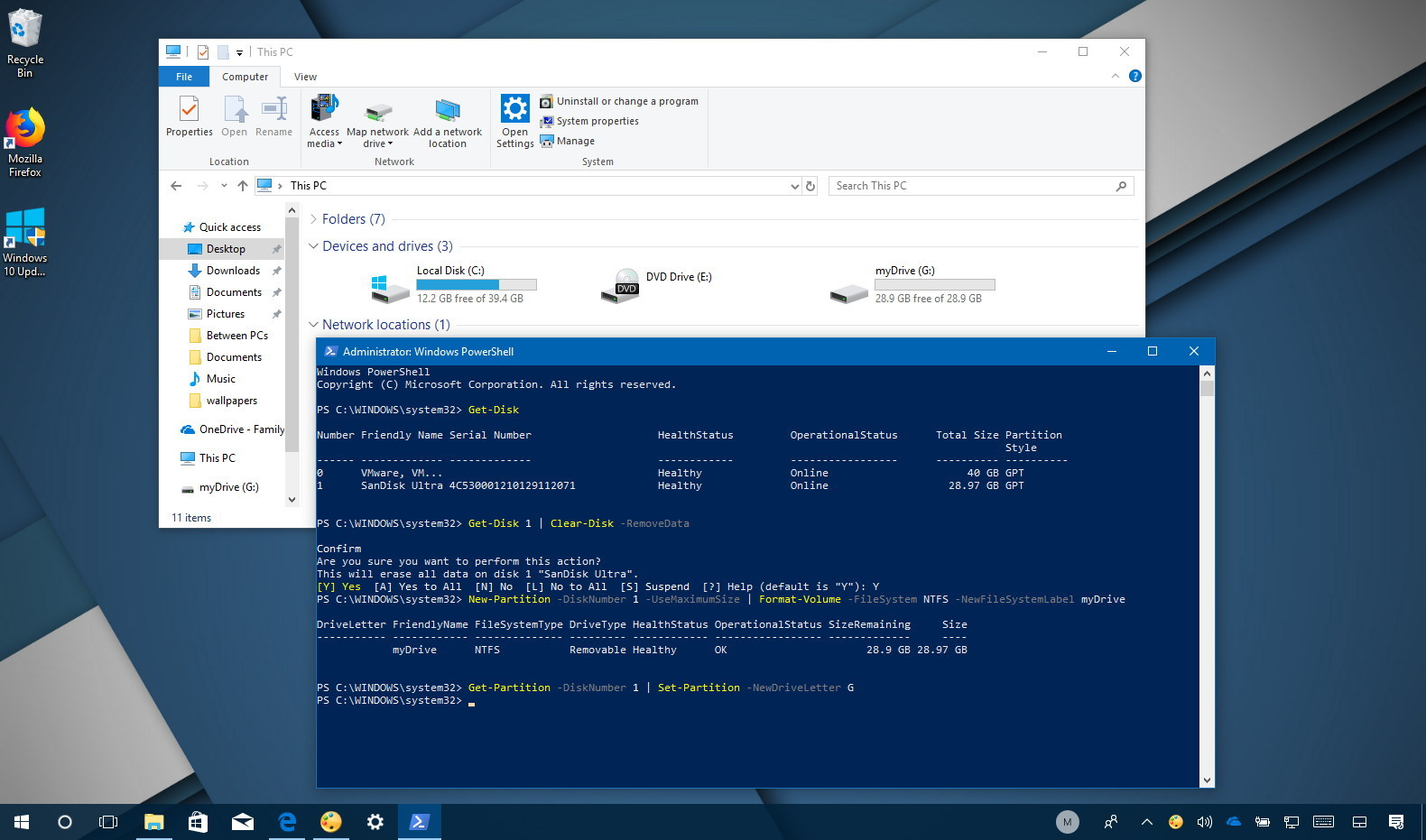 format hard drive windows 10 powershell