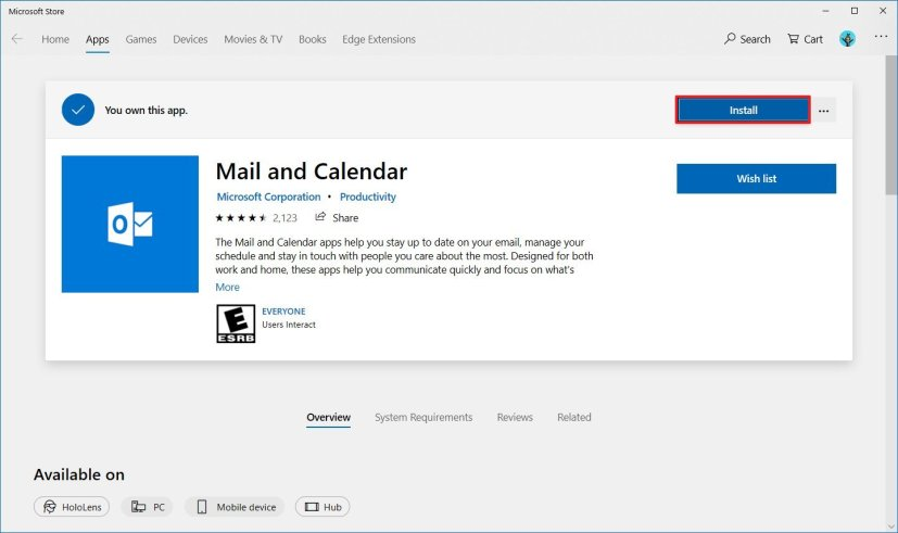 Reinstall default Mail app on Windows 10