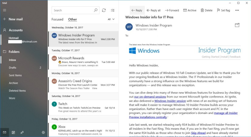 Mail app with Fluent Design