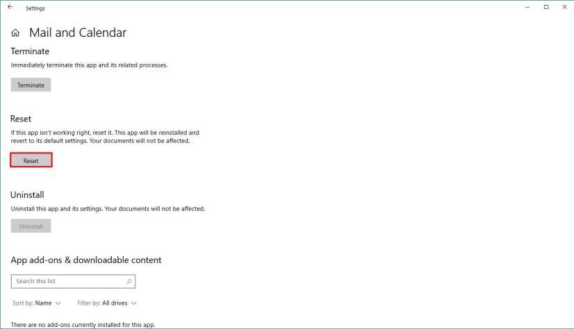 Reset Mail app on Windows 10