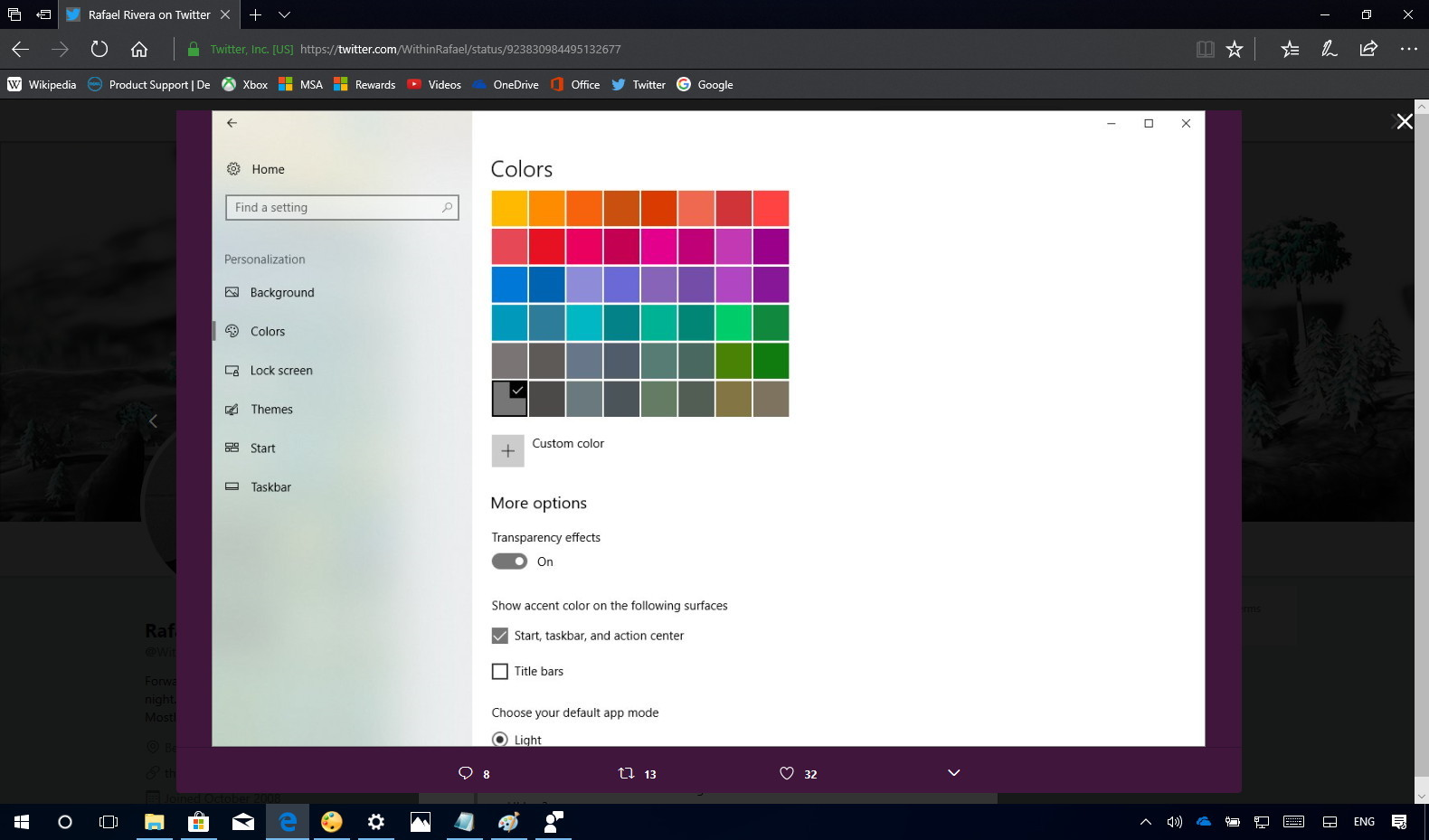 Settings app with Fluent Design