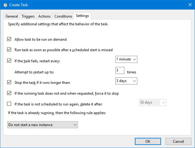 Task Scheduler additional settings