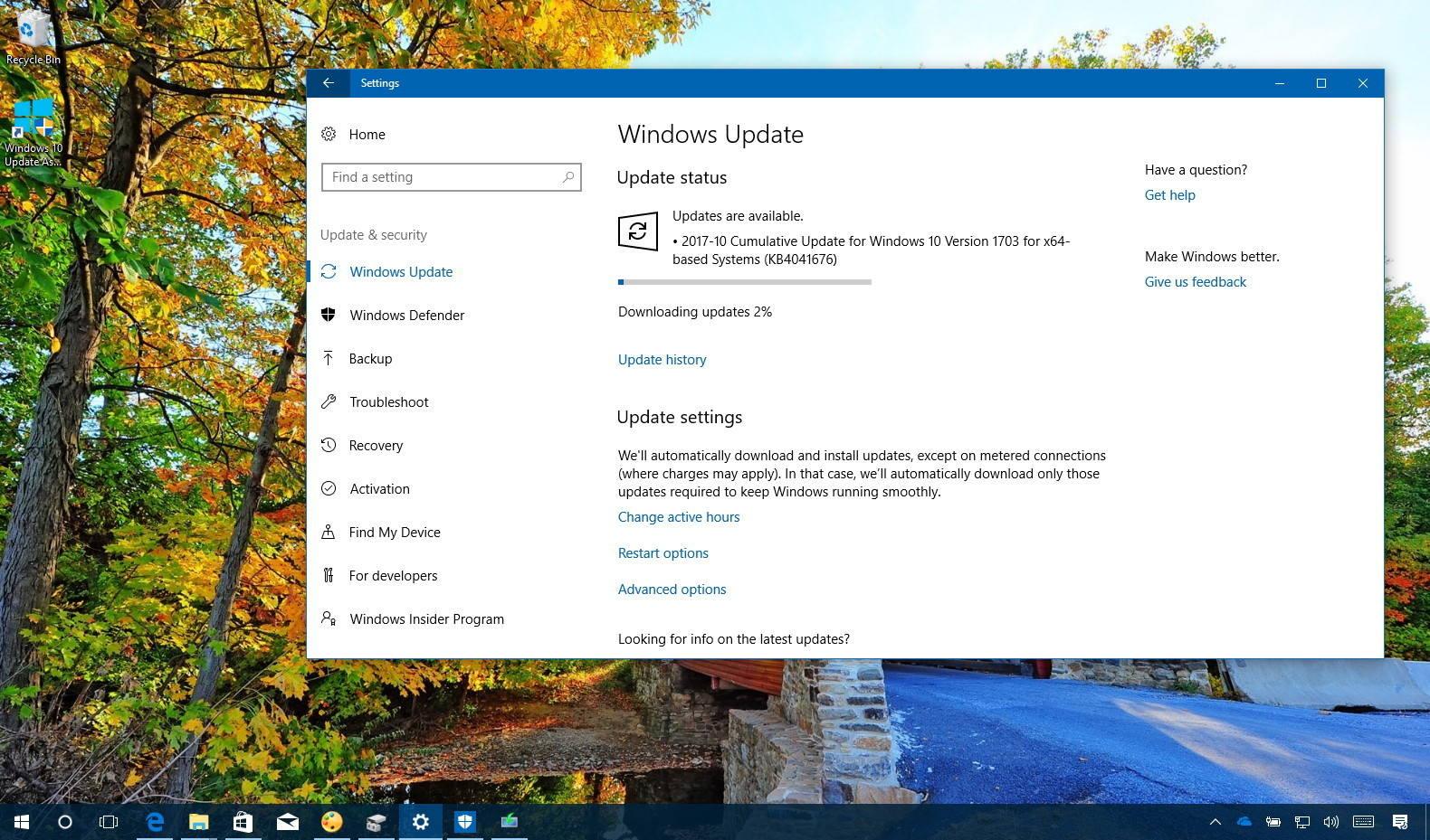 Windows 10 update KB4041676