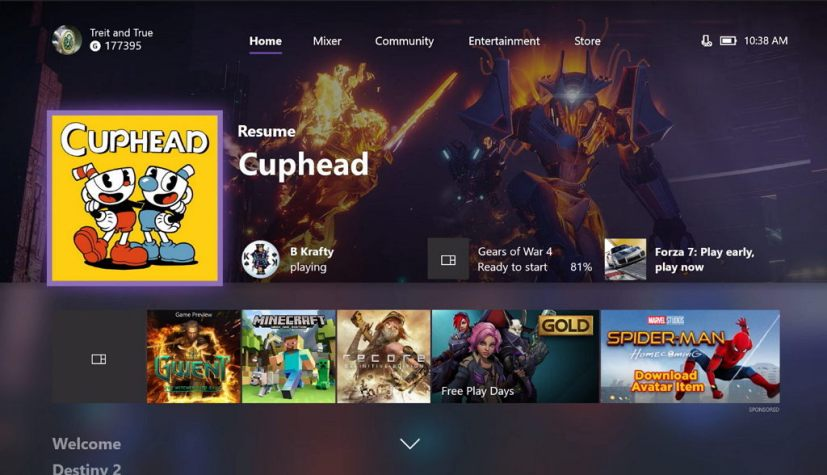 Xbox One October 2017 update with Fluent Design