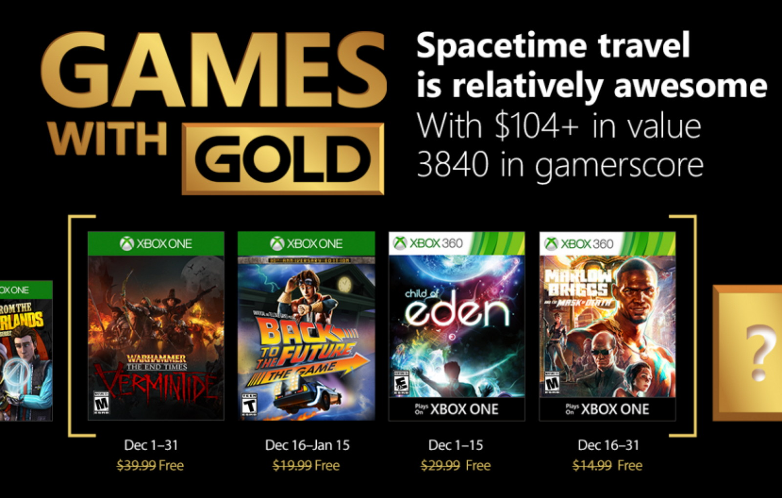Games with Gold for Xbox One and 360 for December 2017