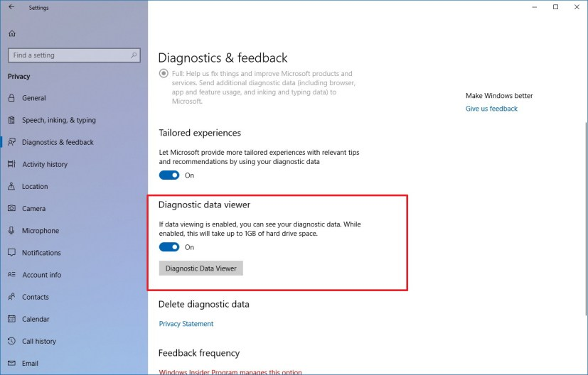 Diagnostic data viewer settings