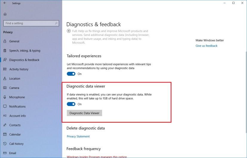 Diagnostic data viewer settings