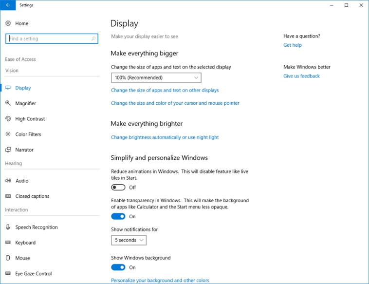 Easy of Access settings on Windows 10 build 17035