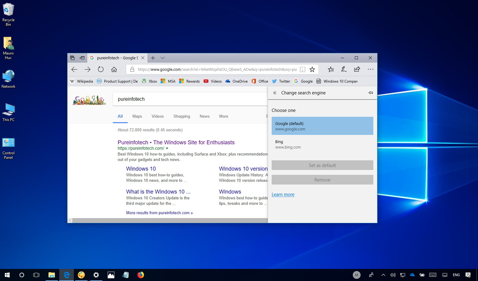 Microsoft Edge with Google as default search engine