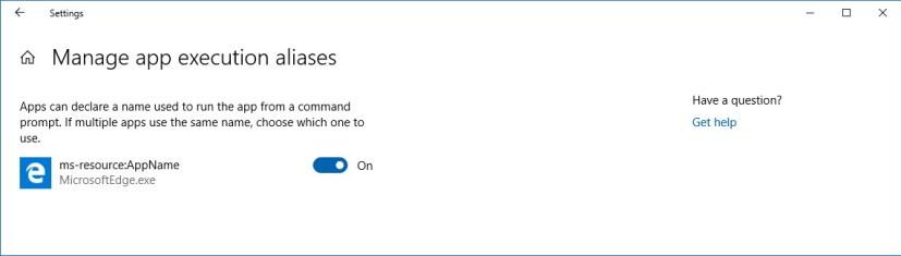 Manage app execution aliases settings