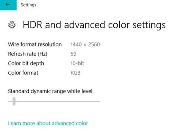 HDR settings on Windows 10 build 17040