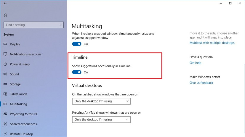 Multitasking settings page on Windows 10 version 1803