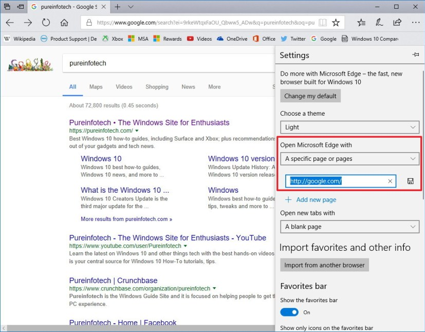 Start Microsoft Edge with Google on page