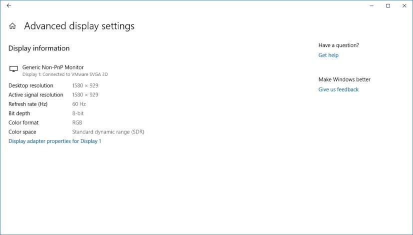 Advanced display settings page