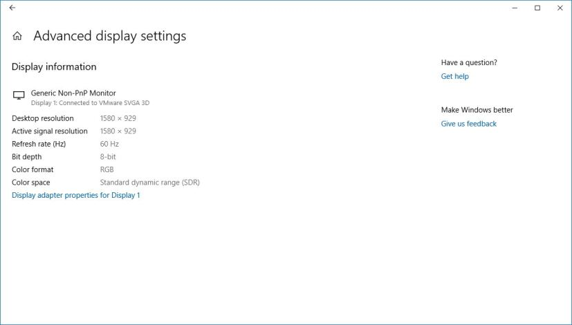 Advanced display settings page