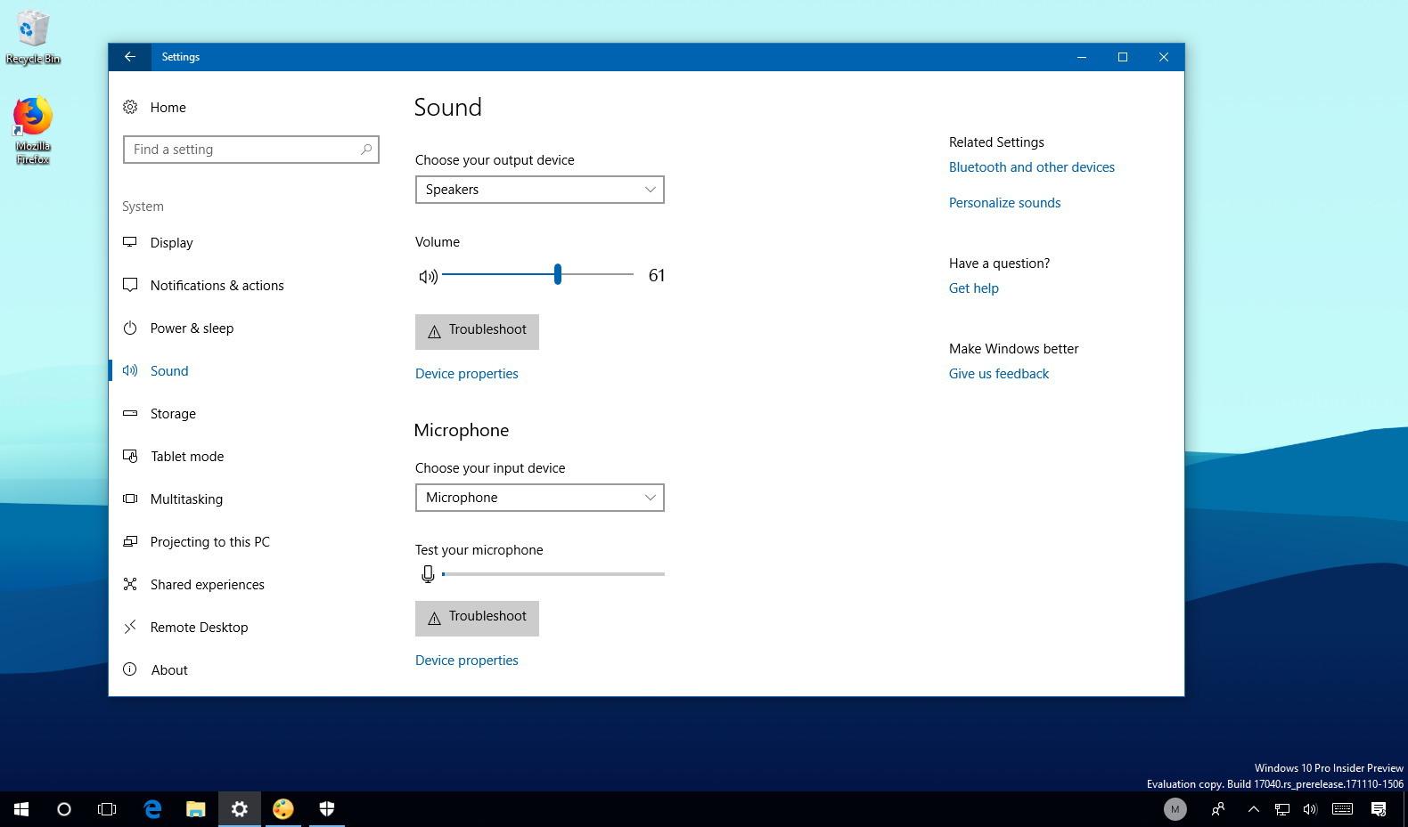 Sound settings on Windows 10 Redstone 4