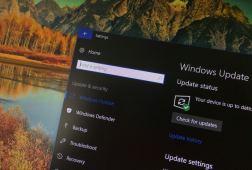 Windows 10 Update settings with dark theme