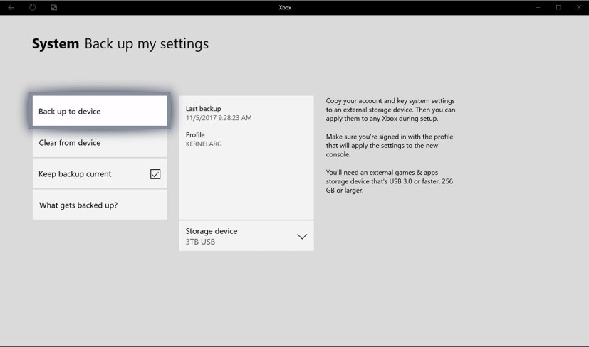 Backup settings option on Xbox One