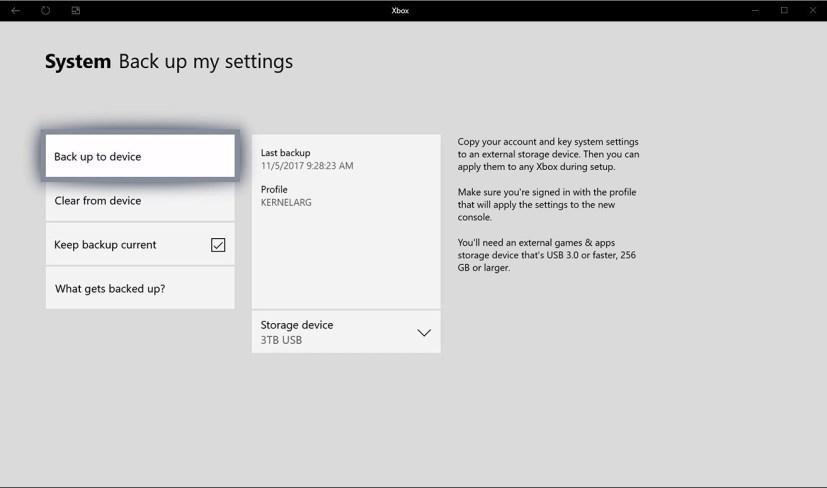 Backup settings option on Xbox One