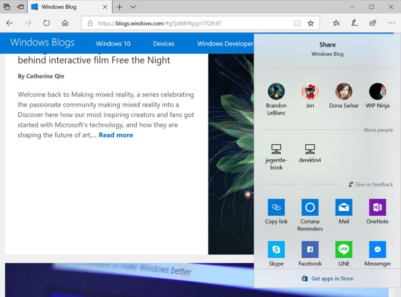 Fluent Design on Share experience