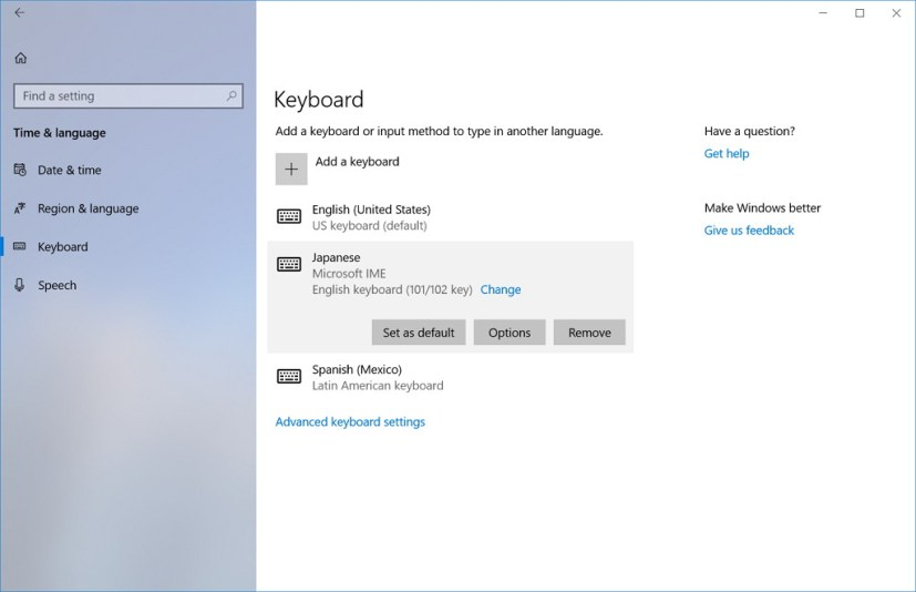 Keyboard settings in Windows 10 build 17063