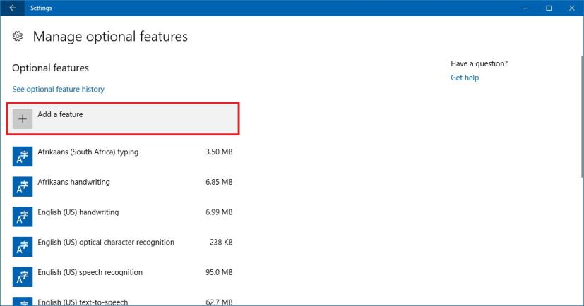 Manage optional features on Windows 10